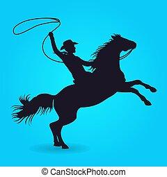 équitation, cheval, lasso, silhouette, cow-boy