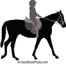 équitation, cheval, silhouette, enfant