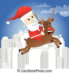équitation, claus, santa, reindeer.