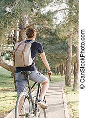 équitation, couloir, park., vélo, homme