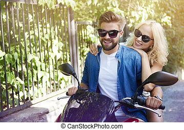 équitation, couple, amour, moto