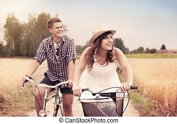 équitation, couple, bicycles, heureux