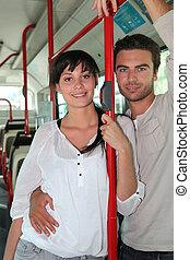 équitation, couple, ensemble, autobus