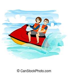 équitation, couple, jet-ski