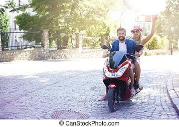 équitation, couple, moto, aimer