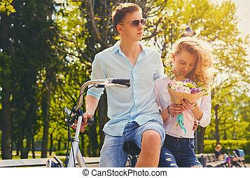 équitation, couple, park., vélo