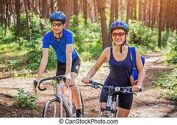 équitation, couple, vélo, forêt