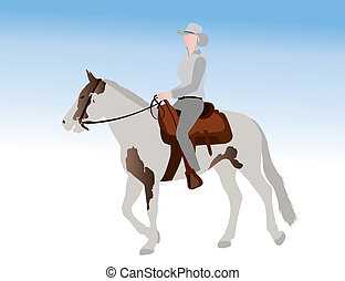 équitation, cowgirl, illustration, cheval