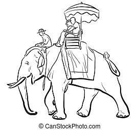 équitation, croquis, éléphant