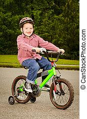 équitation, enfant, vélo, dehors