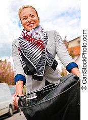 équitation, femme, bicycle.