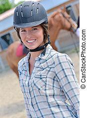 équitation, femme, chapeau, portrait