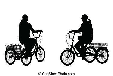 équitation, femme, jeune, tricycle