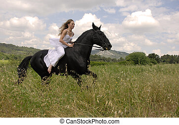 équitation, femme, mariage