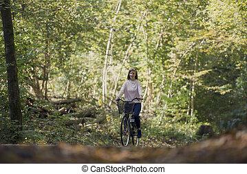 équitation, femme, vélo, forêt