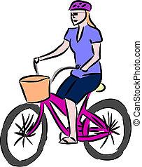 équitation, femme, vélo
