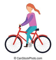 équitation, femme, vélo, jeune, caractère