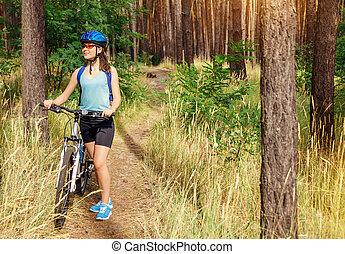 équitation, femme, vélo, jeune, forêt