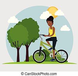 équitation, femme, vélo, jeune, noir