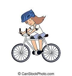équitation, femme, vélo, jeune