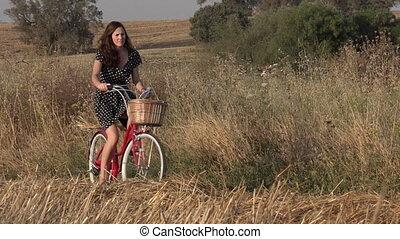 équitation, femme, vélo, jeune, vendange