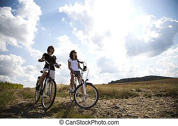 équitation, femmes, vélo, jeune