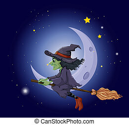 équitation, flotter, manche balai, sorcière, lune