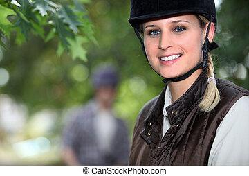 équitation, forêt, cheval