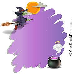 équitation, gabarit, violet, vide, balai, sorcière