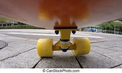 équitation, gens, skateboard, ville
