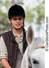 équitation, girl, cheval, jeune
