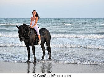 équitation, girl, plage