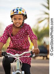 équitation, girl, vélo, heureux