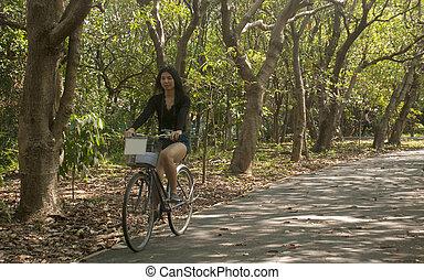 équitation, girl, vélo, jardin