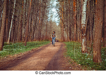 équitation, girl, vélo, sentier
