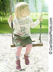équitation, girl, year-old, parc, balançoire