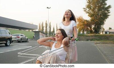 équitation, heureux, grand, centre commercial, avoir, achats...