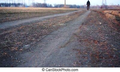 équitation, homme, vélo, field.