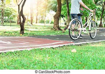 équitation, hommes, vélo, park.