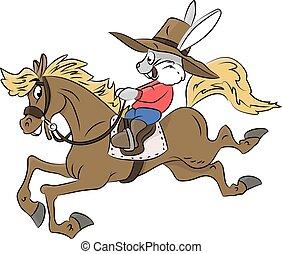 équitation, illustration, dessin animé, lapin, cow-boy, cheval, vecteur