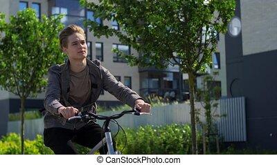 équitation, jeune, ville, vélo, rue, homme