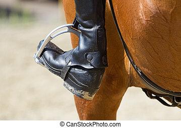 équitation, jockey, botte