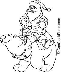 équitation, ours, co, claus, polaire, santa