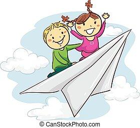 équitation, papier, crosse, avion, gosses