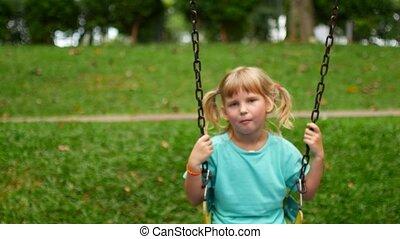 équitation, parc, balançoire, enfant, girl