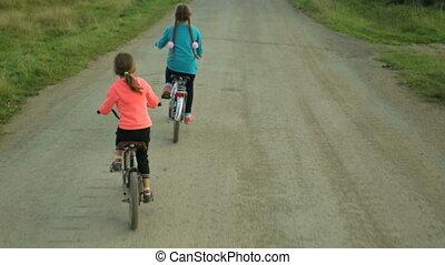 équitation, petit, deux, long, vélos, filles, route, rural