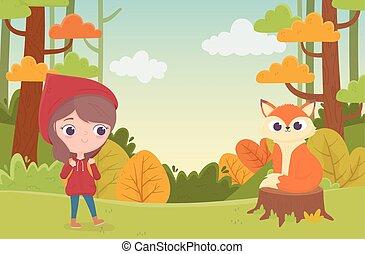 équitation, peu, capuchon, coffre, fée, loup rouge, conte, forêt