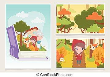 équitation, peu, capuchon, fée, livre rouge, loup, conte, grand-maman, forêt
