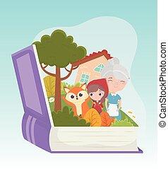 équitation, peu, capuchon, fée, livre rouge, loup, maison, conte, grand-maman, forêt, dessin animé