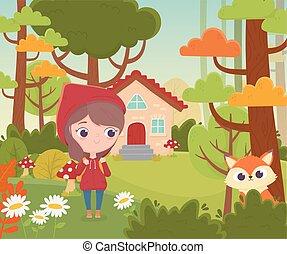 équitation, peu, capuchon, fée, loup rouge, maison, conte, forêt, dessin animé